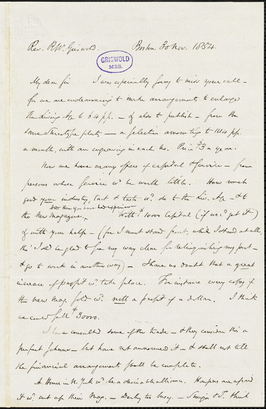 Eliakim Littell, Boston, autograph letter signed to R. W. Griswold, 30 November 1854