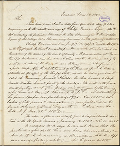 William Lloyd, Freehold, NJ., autograph letter signed to James Mease, 13 June 1842