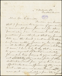 Jane Ermina (Stockweather) Locke, 61 Federal St. Boston, autograph letter signed to Mary Elizabeth (Moore) Hewitt Stebbins, 6 January 1851