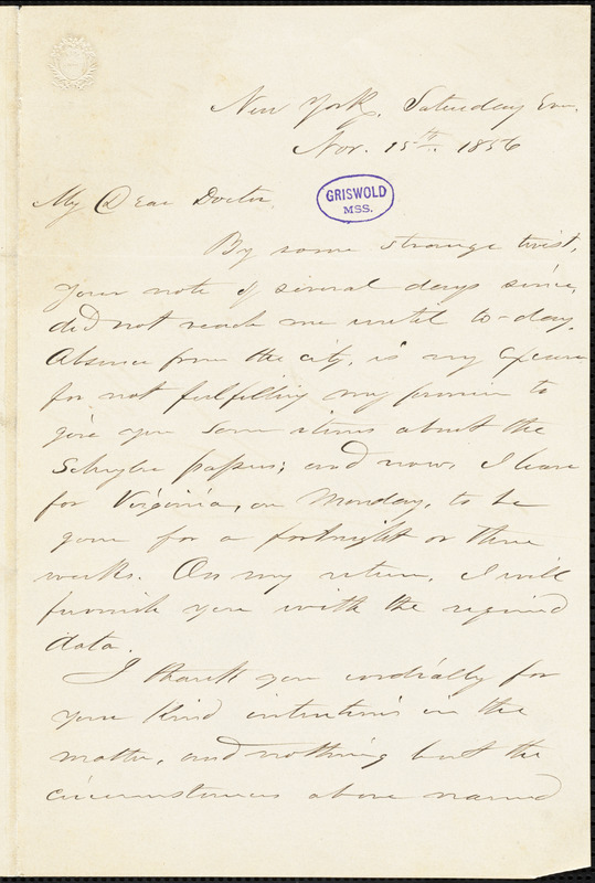 Benson John Lossing, New York, autograph letter signed to R. W. Griswold, 15 November 1856