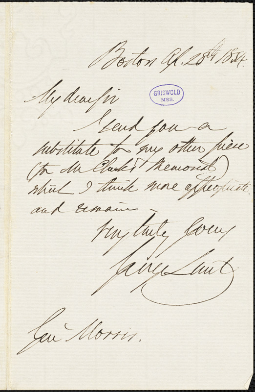 George Lunt, Boston, autograph letter signed to George Pope Morris, 28 April 1854