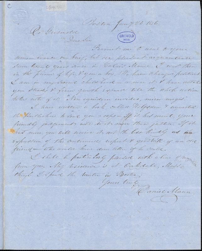 Daniel Mann, Boston, autograph letter signed to R. W. Griswold, 26 January 1856