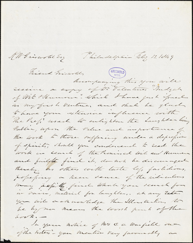 Charles Marshall, Philadelphia, autograph letter signed to R. W. Griswold, 13 February 1849