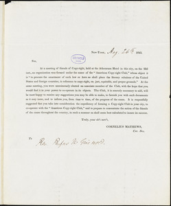 Cornelius Mathews document to R. W. Griswold, 26 August 1843, New York,