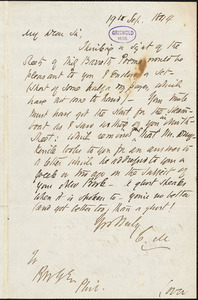 Cornelius Mathews autograph letter signed to R. W. Griswold, 19 September 1844
