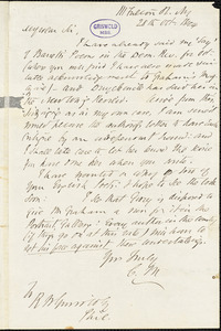 Cornelius Mathews, 111 Fulton St. NY., autograph letter signed to R. W. Griswold, 28 October 1844