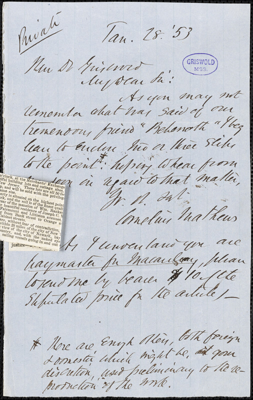 Cornelius Mathews autograph letter signed to R. W. Griswold, 28 January 1853