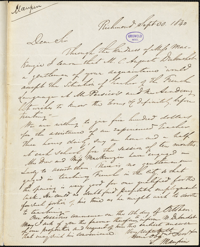 S. Maupin, Richmond., autograph letter signed to Edgar Allan Poe, 30 September 1840