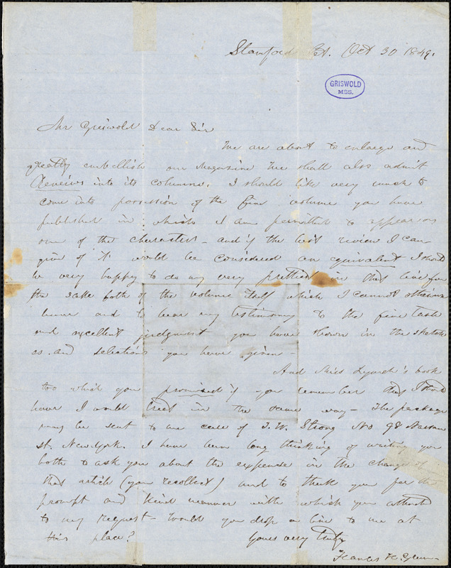 Frances Harriet (Whipple) Green McDougall, Stamford, CT., autograph letter signed to R. W. Griswold, 30 October 1849