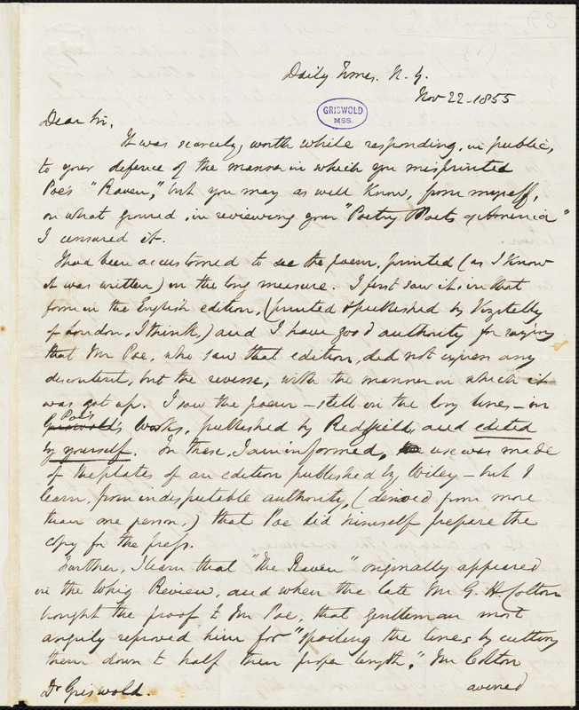 Robert Shelton Mackenzie, Daily Times, NY., autograph letter signed to R. W. Griswold, 22 November 1855