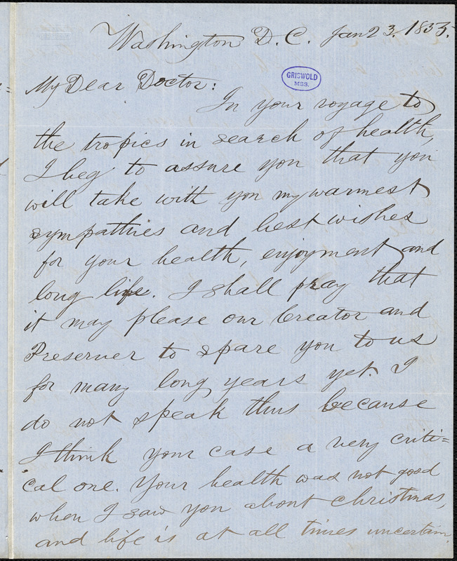 Pliny Miles, Washington, DC., autograph letter signed to R. W. Griswold, 23 January 1855