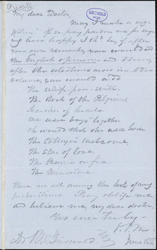George Pope Morris autograph letter signed to R. W. Griswold, 15 June 1855