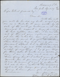 William Pembroke Mulchinock, Box 2557 P. O. New York, autograph letter signed to R. W. Griswold, 29 April 1851