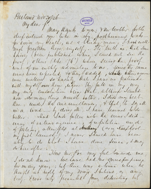 John Neal, Portland, autograph letter signed to Mary Sargent (Neal) Gove Nichols, 30 November 1846