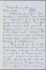 John Neal, Portland, autograph letter signed to [Mary Elizabeth (Moore) Hewitt Stebbins], 4 January 1851
