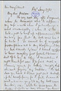 John Neal, Portland, autograph letter signed to Mary Elizabeth (Moore) Hewitt Stebbins, 27 January 1851