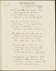 """John Neal manuscript poem, 1828: """"The Disappointed One."""""""