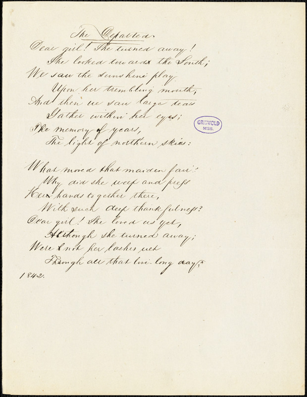 "John Neal manuscript poem, 1842: ""The Departed."""