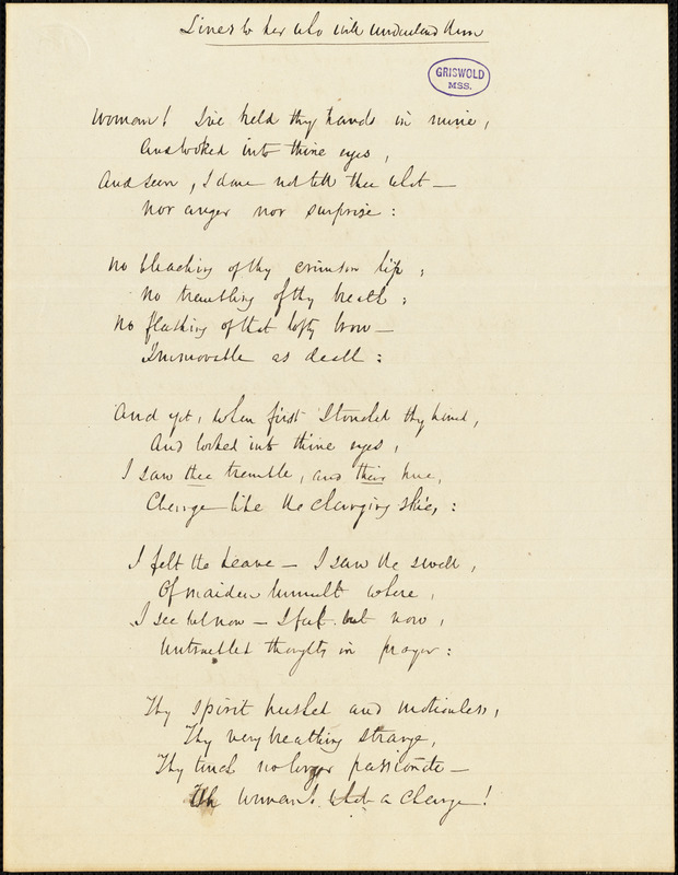 """John Neal manuscript poem, 1842: """"Lines to her who will understand them."""""""