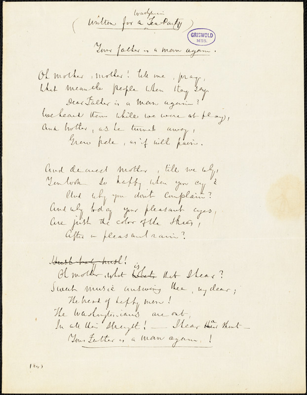 "John Neal manuscript poem, 1843: ""Your father is a man again."""