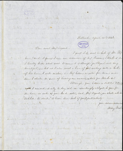 Mary Neal, Portland, ME., autograph letter signed to Frances Sargent (Locke) Osgood, 25 April 1846