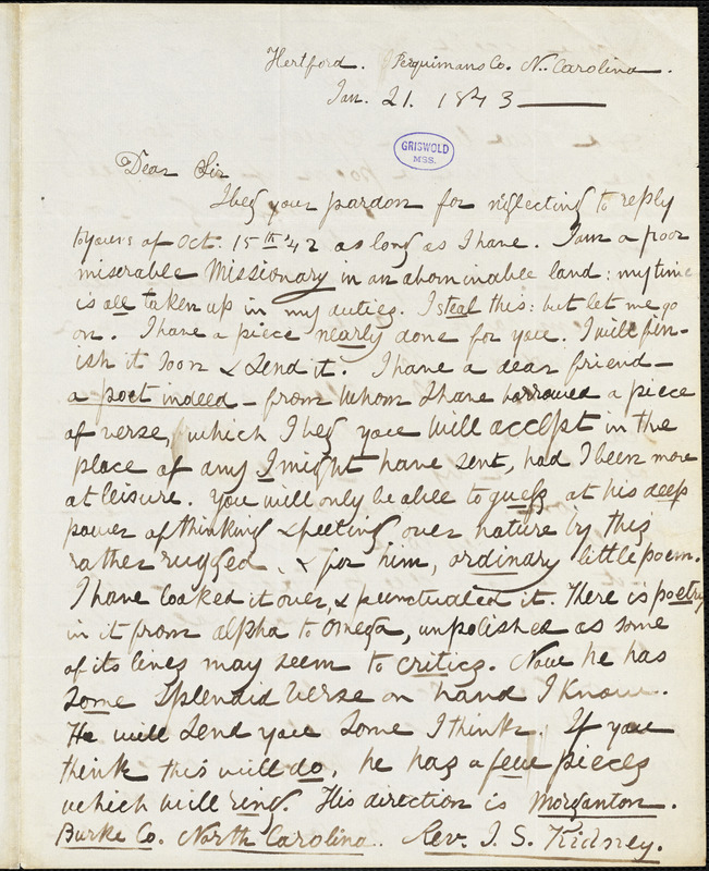Louis Legrand Noble, Hertford, NC., autograph letter signed to R. W. Griswold, 21 January 1843