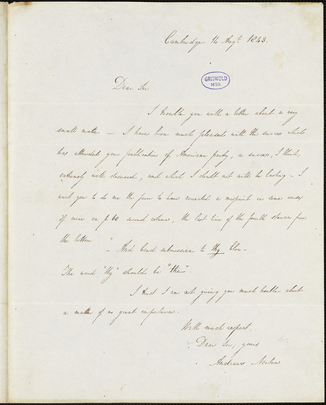 Andrews Norton, Cambridge, autograph letter signed to R. W. Griswold, 14 August 1843
