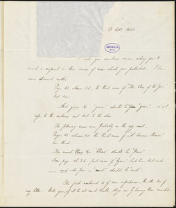 Andrews Norton autograph letter to R. W. Griswold, 13 October 1843