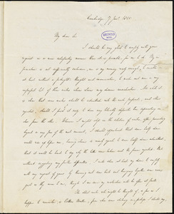 Andrews Norton, Cambridge, autograph letter signed to R. W. Griswold, 7 January 1845