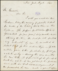 E. W. Osgood, New York, autograph letter signed to R. W. Griswold, 4 August 1848
