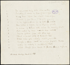 "Frances Sargent (Locke) Osgood manuscript poem, 3 March 1849: Sonnet: ""For one, whose being is to mine a star."""