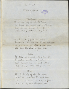 "Frances Sargent (Locke) Osgood manuscript poem: ""The Bouquet"" and ""Songs for Children."""