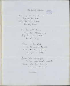 "Frances Sargent (Locke) Osgood manuscript poem: ""The fairy's lullaby,"" ""The Secret"" and ""Dirge for a Canary-bird."