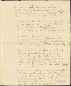 "Frances Sargent (Locke) Osgood manuscript poem: ""Within a frame more glorious than the gem...,"" ""Reprove me not that I still change...,"" ""High connections."""