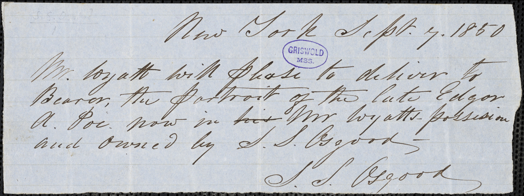 Samuel Stillman Osgood, New York, autograph note signed to Mr. Wyatt, 7 September 1850