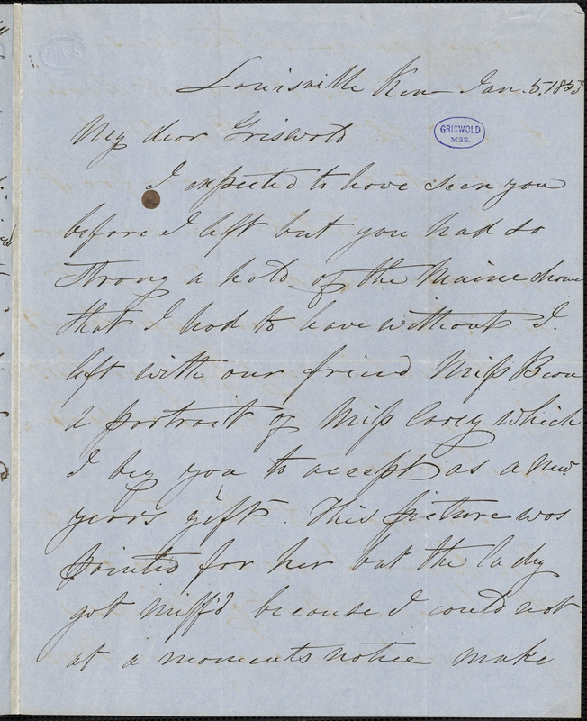 Samuel Stillman Osgood, Louisville, KY., autograph letter signed to R. W. Griswold, 5 January 1853