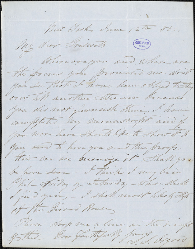 Samuel Stillman Osgood, New York, autograph letter signed to R. W. Griswold, 12 June 1855