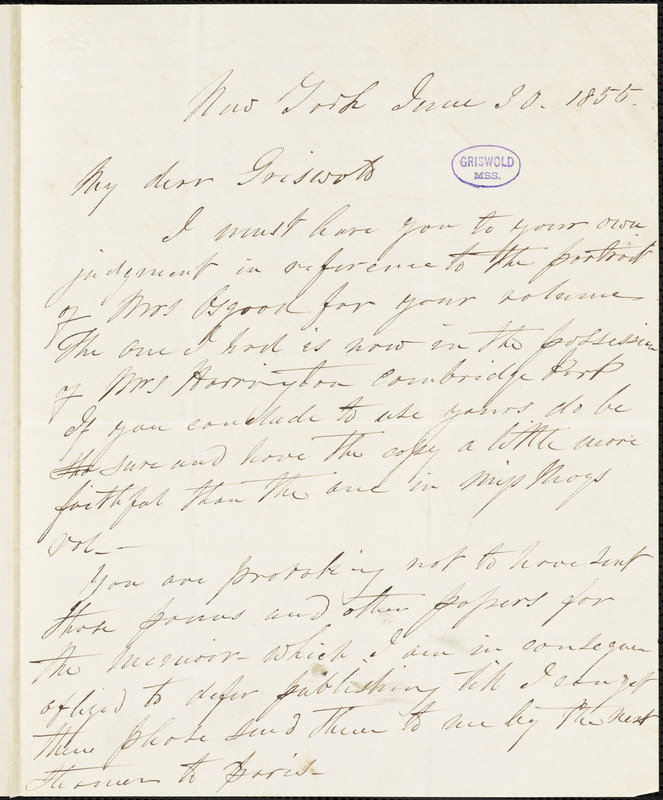 Samuel Stillman Osgood, New York, autograph letter signed to R. W. Griswold, 30 June 1855