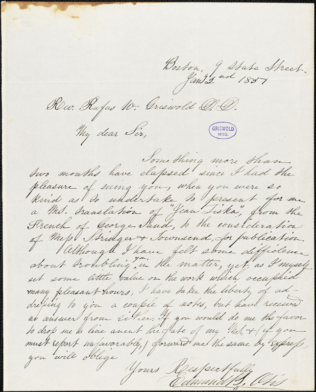Edmund Burke Otis, Boston, MA., 9 State Street, autograph letter signed to R. W. Griswold, 2 January 1851
