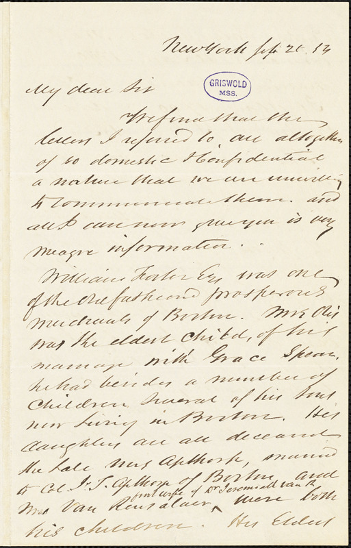 James William Otis, New York, autograph letter signed to R. W. Griswold, [25?] February 1854