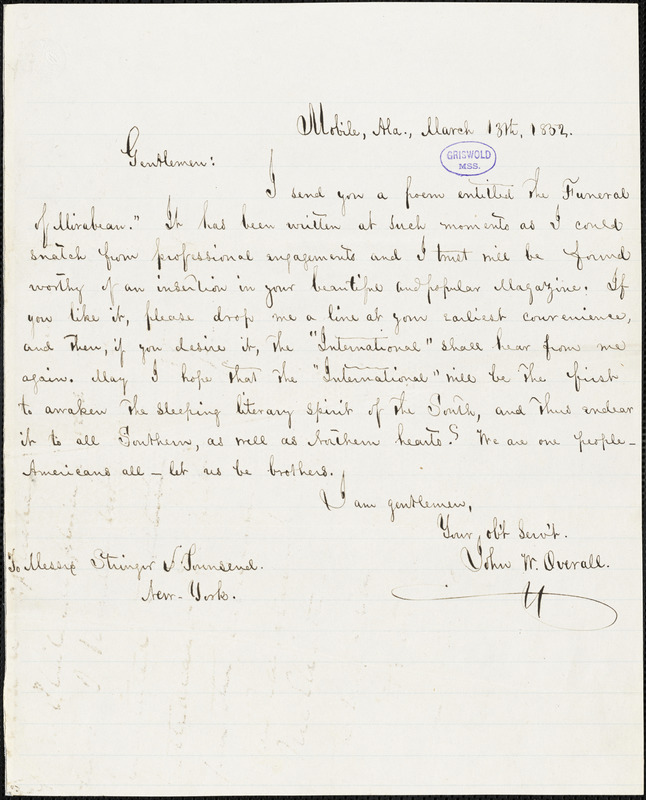 John Wilfor Overall, Mobile, AL., autograph letter signed to Stringer & Townsend, 13 March 1852