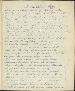 "A. P. Southron (pseudonym) manuscript poem: ""To New York."""