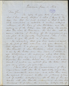 William Jewett Pabodie, Providence, RI., autograph letter signed to R. W. Griswold, 11 June 1852