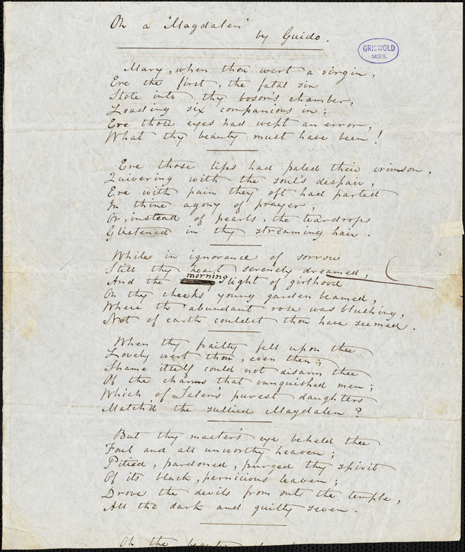 """Thomas William Parsons manuscript poem: """"On a 'Magdalen"""" by Guido."""""""