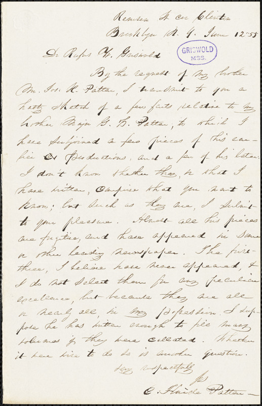 E. Fluide Patten (?), Brooklyn, NY., autograph letter signed to R. W. Griswold, 12 June 1855