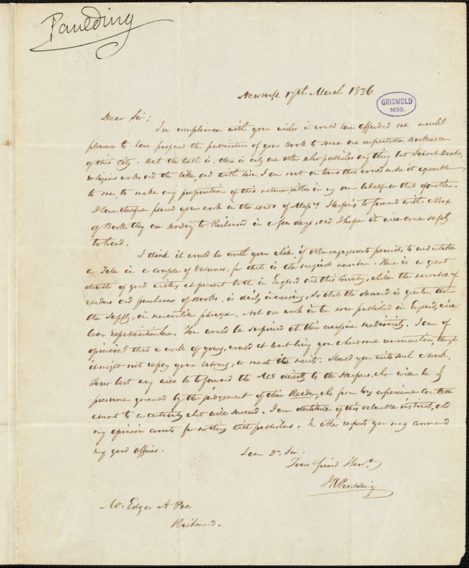 James Kirke Paulding, New York, autograph letter signed to Edgar Allan Poe, 17 March 1836