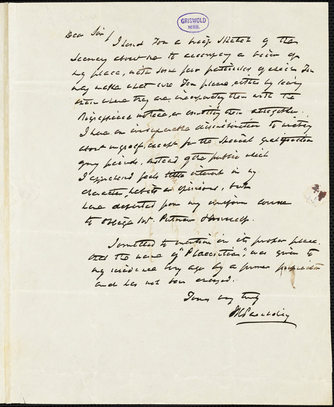 James Kirke Paulding, Hyde Park, NY., autograph letter signed to R. W. Griswold, 26 July [1853?]