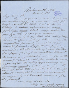 Andrew Preston Peabody, Portsmouth, NH., autograph letter signed, 8 December 1855