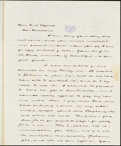 Charles Jacobs Peterson, Philadelphia, PA., autograph letter signed to Frances Sargent (Locke) Osgood, 10 April 1844