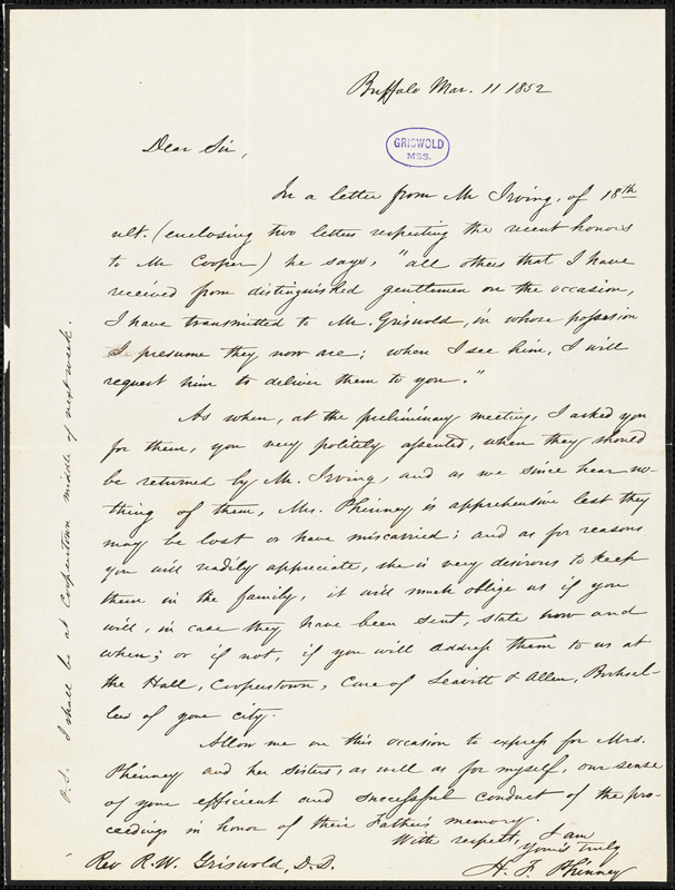 H. F. Phinney, Buffalo, NY., autograph letter signed to R. W. Griswold, 11 March 1852